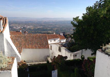Panorámica de las inacabables llanuras. Al fondo, España. Panorámica de las inacabables llanuras alentejanas. Al fondo, España