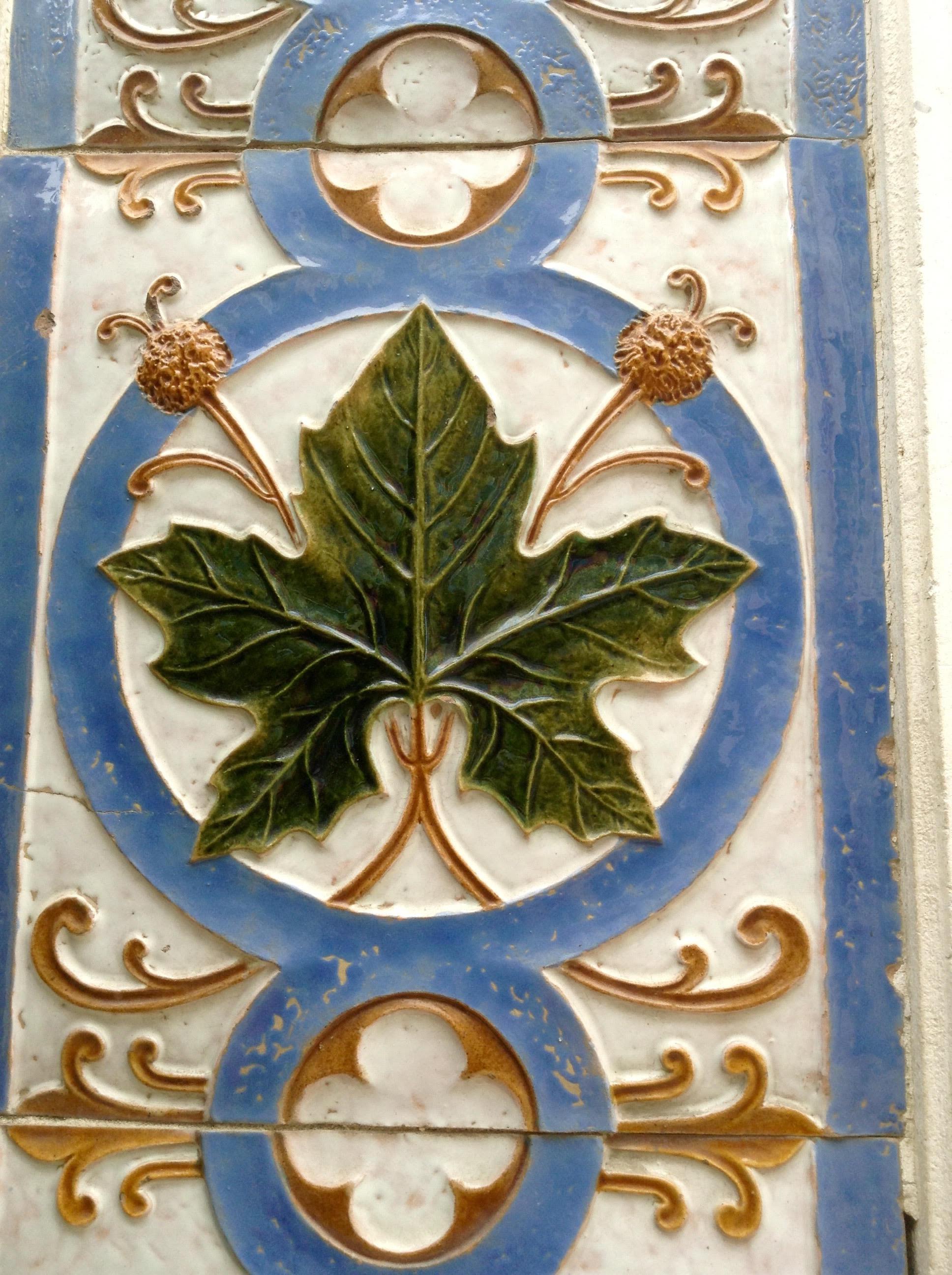 Detalle del mosaico con motivos vegetales, R. Bordallo Pinheiro