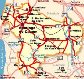 Mapa de ubicación de Santiago do Cacém en el Baixo Alentejo