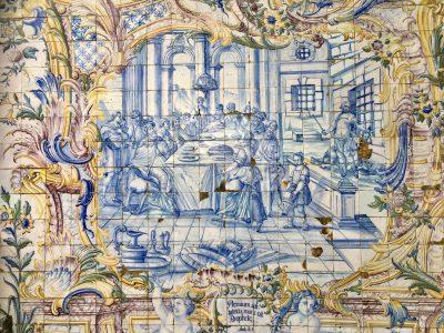 Escena religiosa que describe la boda de Caná donde el agua se transformó en vino. Leyenda: Nuptiæ factæ / sunt in cana galilæ / aaquam vinum / factam / Joanes, cap. II
