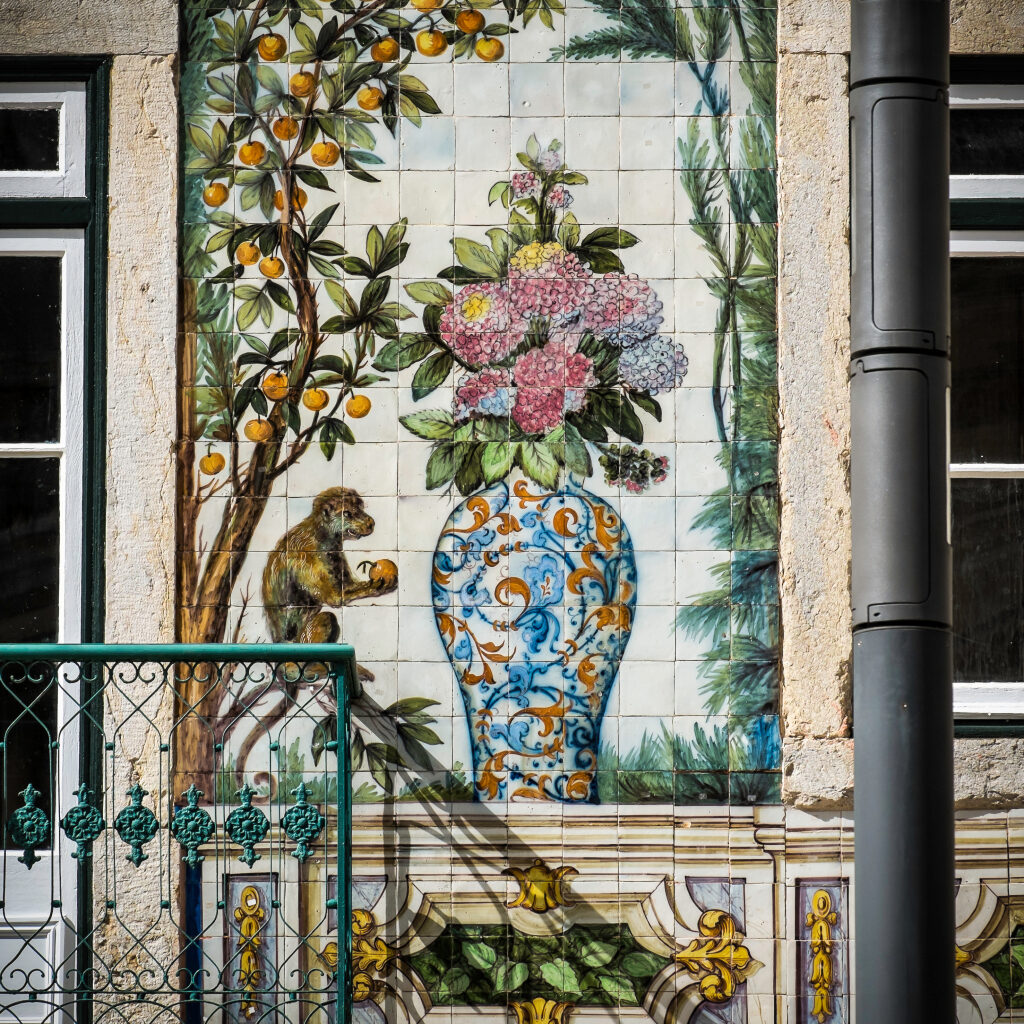 Exoticas imagenes invaden la fachada de la tienda Viuva Lamego
